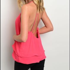 Gorgeous two tired back cut out tank! Hot pink with a pretty criss cross in back - beautiful for spring and summer! Tops Tank Tops