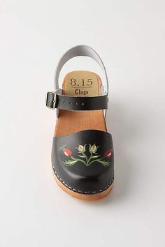 Lapprose Clogs hand painted with Scandinavian flora.