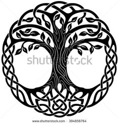 Vector ornament, decorative Celtic tree of life                              …