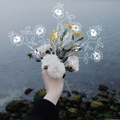 flowers, art, and sea image