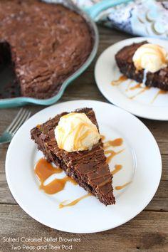 Salted Caramel Skillet Brownies Recipe on twopeasandtheirpod.com The BEST brownies ever!