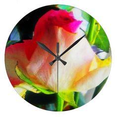 Golden pink rose Wall Clock