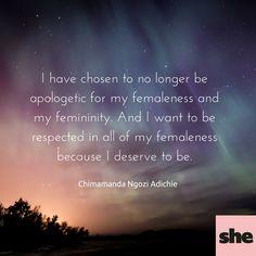 Chimamanda Ngozi Adichie feminism quotes. We should all be feminists.