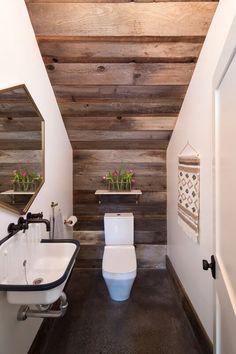Under Stairs Bathroom Design . Under Stairs Bathroom Design . Lovely Bathroom Under Stairs Half Bath… Would Be A Great Bathroom Under Stairs, Half Bathroom Decor, Eclectic Bathroom, Attic Bathroom, Bathroom Layout, Bathroom Interior Design, Bathroom Ideas, Bathroom Renovations, Basement Bathroom