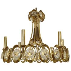 1stdibs.com | Very Glamorous Modern Sciolari Gold And Cut Crystal Fixture