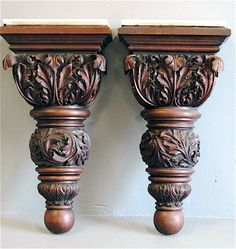 Pair of Acanthus Carved Wall Pedestals or Brackets