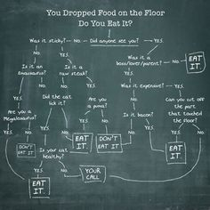 "Flowchart: To Eat, Or Not To Eat, Food You Dropped On The Floor?—Best part: ""is it bacon?"">""yes"">""EAT IT"""