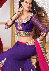 Purple Net Fish Cut Lehenga Choli