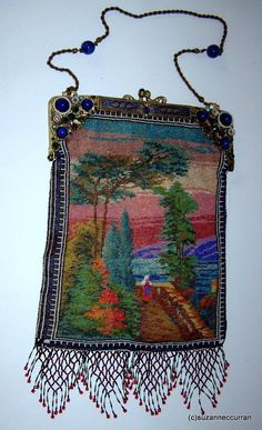 Antique Micro Beaded Scenic Purse with Exceptional Enamel & Jewel Frame | eBay