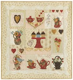 """""""Cream and Sugar"""" quilt.  Pattern can be purchased from www.homesteadhearth.com  Uses Swarovski crystals as embellishments."""