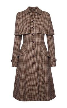 This **Lena Hoschek** Sherlock Harris Tweed coat features a pointed collar with a detachable cape and flared hem silhouette. Vintage Dresses, Vintage Outfits, Vintage Fashion, Sherlock Coat, Feminine Mode, Tweed Coat, Tweed Run, Vintage Coat, Mode Outfits