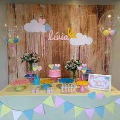 Decora o Ch de Beb - Chuva de Amor - Dicas e Inspira o o Love Decorations, Birthday Decorations, Love Rain, Unicorn Party, Candy Colors, My Sunshine, Baby Shower Parties, First Birthdays, Cool Photos