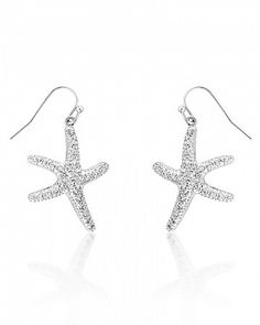 Summer 3.8ct CZ White Gold Rhodium Starfish Earring for $18.00 at Baubles.