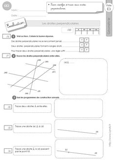 CE2: Evaluation LES DROITES PERPENDICULAIRES Education, Aide, School, Printables, Print Templates, Teaching, Training, Educational Illustrations, Learning