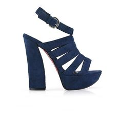 Strap Detail Block Heel Sandals ($57) ❤ liked on Polyvore