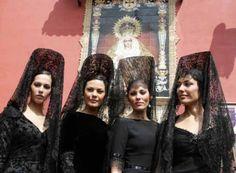 Black Spanish Mantillas in Holy Week.