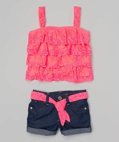 Look at this Pink Ruffle Tank & Denim Shorts - Girls on #zulily today!