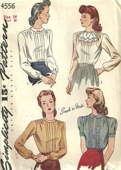 Simplicity 4556 // Vintage 1940s Sewing Pattern // Shirt Blouse // Size 14 Bust 32