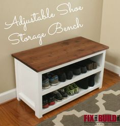 Make this Adjustable Shoe Storage Bench with FREE plans from FixThisBuildThat.com. Más