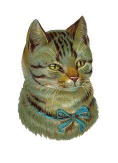 Antique Tabby Cat Die Cut from Victorian Scrapbook