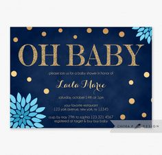baby shower invitation, navy blue and white stripe gold heart, Baby shower invitations