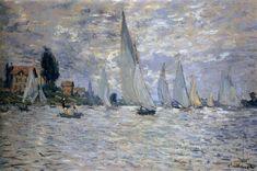 The Boats Regatta at Argenteuil, 1874 by Claude Monet. Impressionism. landscape