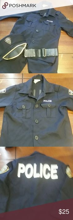 20% off 2 or more  Kids police costume, size Small 3T-4T, four pieces included: shirt, pants, hat & belt, worn once for Halloween  Costumes Halloween