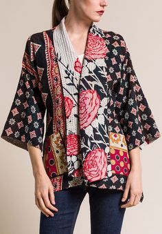 $710.00 | Mieko Mintz 4-Layer Vintage Cotton Kimono Jacket in White/Navy | Mieko Mintz creates clothing from vintage saris, which are upcycled into new fashion. The reversible clothing is an artful multi-pattern combination of by Mieko that is then made into kantha fabric. Sold online and in-store at Santa Fe Dry Goods in Santa Fe, New Mexico.