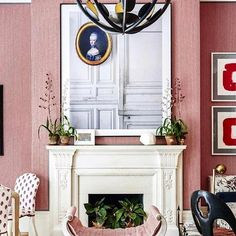 Pink and red dance elegantly with one another in this royal room. Kips Bay Showhouse, Royal Room, Red Interiors, House Tours, Improve Yourself, Gallery Wall, Interior Design, Instagram Posts, Modern