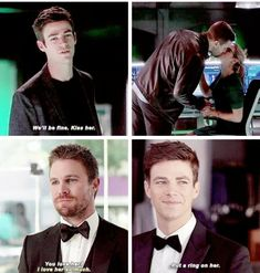 Barry shipping #Olicity When the friends say that, that's them approving.