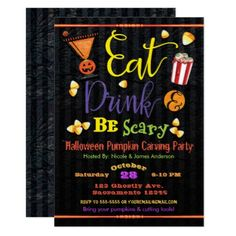 Eat Drink & Be Scary Halloween Costume Party Card - birthday gifts party celebration custom gift ideas diy