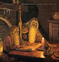Gandalf and Thorin at Bree ~ Ted Nasmith. (What Thorin is SUPPOSED! to look like)