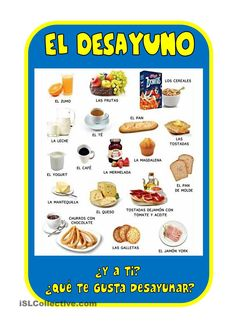 EL DESAYUNO - Use for Station 1 with Somewhere to Share's Comer para vivir o vivir para comer Day 1 activity