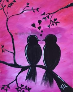 How To Paint Love Birds On Branch Step By Step Painting For Beginners Acrylic Canvas Tutorials Canvas Painting Tutorials, Acrylic Painting Techniques, Painting Lessons, Simple Canvas Paintings, Happy Paintings, Silhouette Painting, Bird Silhouette, Dinosaur Silhouette, Acrylic Canvas