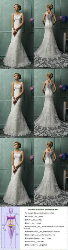 Wedding Dresses: New Mermaid White Ivory Wedding Dress Lace Bridal Gown Custom Made6-8-10-12-14++ -> BUY IT NOW ONLY: $95.99 on eBay!