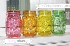 DIY Color Mason Jars - Fancy Shanty 1 tablespoons of mod podge gloss and 1/2 tablespoon of water and 9 drops food coloring