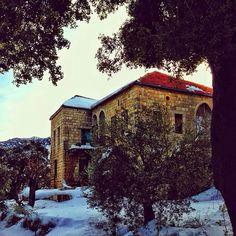 A village under the snow.