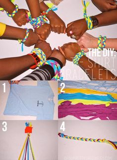 Great activity for girls - DIY bracelets made out of old shirts