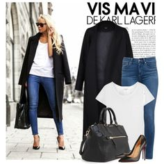 Blogger style: Victoria Tornegren by monmondefou on Polyvore featuring polyvore fashion style Yves Saint Laurent Paige Denim Christian Louboutin MANGO Quay blogger BloggerStyle