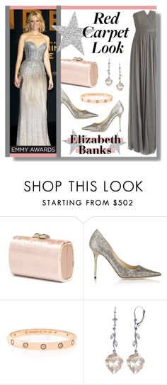 """Red Carpet Look: Elizabeth Banks"" by lgb321 ❤ liked on Polyvore featuring Jimmy Choo, Cartier, Galaxy Gold and J.Crew"