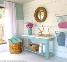 Love the way this space uses cool baskets for storage.