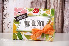 Stampin up - Tent Box, Dreiecks Box, Verpackung, Designerpapier Obstgarten, Stempelset Mit Liebe geschenkt - Fine Paper Arts