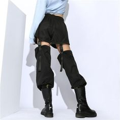 Plus Size Gothic Cargo Pants Women Black Casual Loose Detachable High Waist Trousers Edgy Outfits, Grunge Outfits, Mode Outfits, Fashion Pants, Fashion Models, Fashion Outfits, Fashion Trends, Fashion Drug, Fashion Goth
