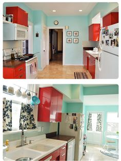 red & robin's egg kitchen - maybe not for my kitchen, but I love this color combo!