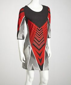 Loving this Red Chevron Dress - Women & Plus on #zulily! #zulilyfinds