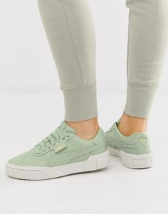 Puma - Cali - Baskets - Vert Green Trainers, Lace Up Trainers, Pink Court Shoes, Puma Cali, Asos, Leather Flip Flops, Puma Sneakers, Birthday