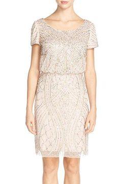 e1abfec249360 Adrianna+Papell+Short+Sleeve+Beaded+Blouson+Dress+available+