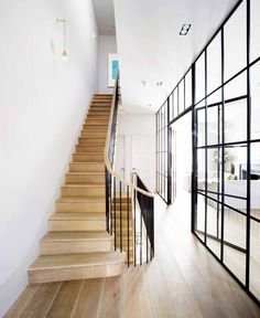 Wood staircase in industrial home