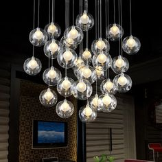 Fashion glass ball LED chandelier modern minimalist living room bedroom dining bar creative personality with stairs chandelier