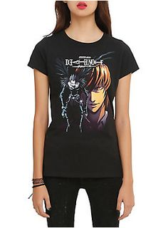 Fitted black tee from <i>Death Note</i> with a Ryuk and Light design on front.